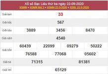 Thống kê XSBL 29/9/2020 chốt kết quả Bạc Liêu thứ 3
