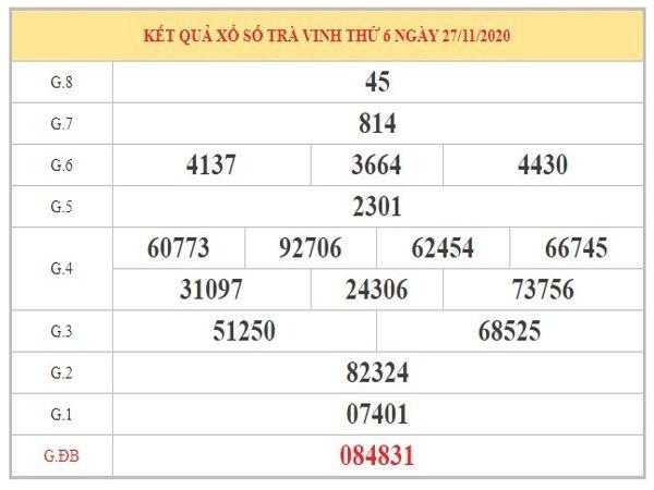 Thống kê XSTV ngày 4/12/2020 dựa trên kết quả kì trước